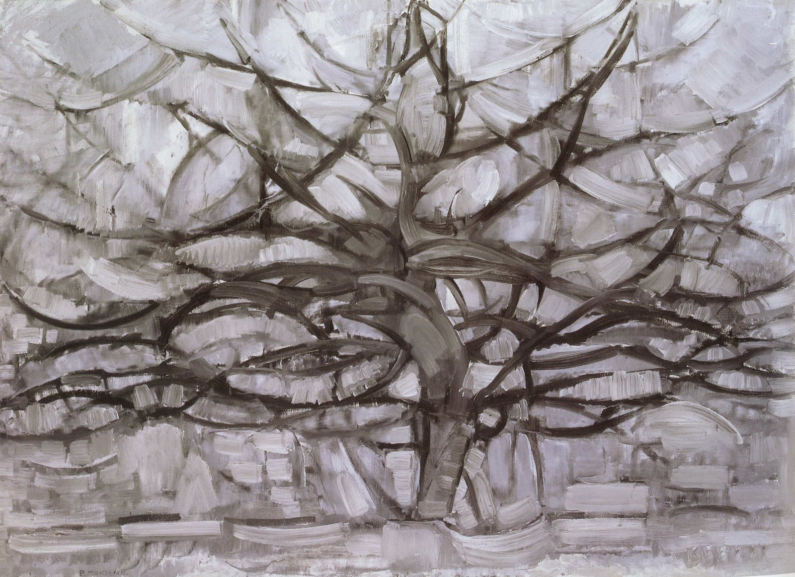 Piet Mondrian, The Grey Tree (1911, oil on canvas, 78.5 x 107.5 cm.) The Hague, Haags Gemeentemuseum.