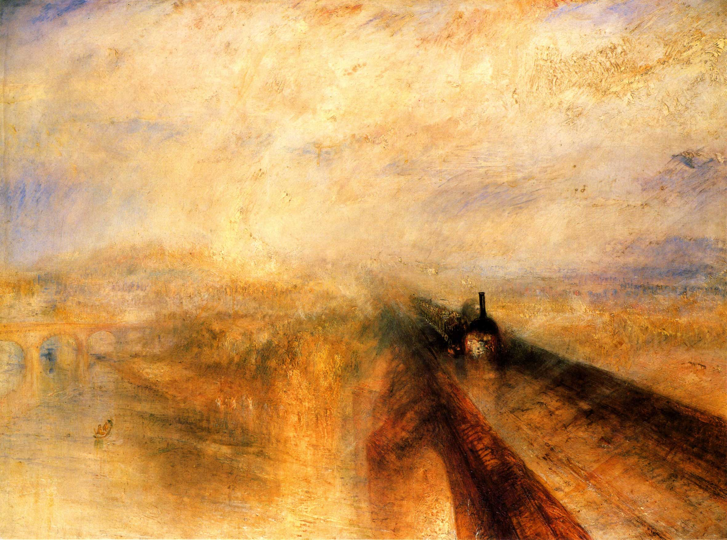 J. M. W. Turner, Rain, Steam and Speed – The Great Western Railway (1844, oil on canvas.) London, National Gallery.