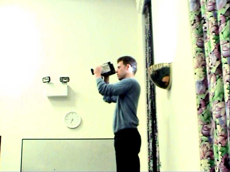 Figure 23: Image from camera 2, documenting the work with camera 1, for film Quantum Words (2006). Image © Gil Dekel.