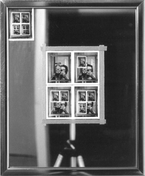 Figure 51: Michael Snow, Authorization (1969, black and white polaroid photographs, adhesive cloth tape, metal frame, mirror, 54.5 x 44.5 cm.) Collection of the National Gallery of Canada, Ottawa, Canada. Image © the artist. Permission to reproduce and upload the image online obtained from the artist.