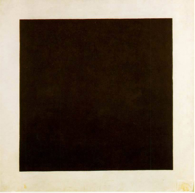 Kazimir Malevich, Black Square (1923, oil on Canvas.) St. Petersburg, State Russian Museum. Image in public domain.