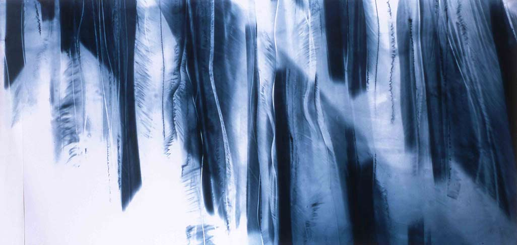 Katayoun Dowlatshahi, Drawing Fragments of Light I, II & III (2004, triptych, gelatine, blue & black pigment onto glass, 168 x76 cm each.) Image © the artist. Permission to use image obtained from the artist.