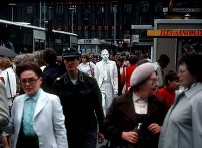 Roi Vaara, White Man (1983, street action) Helsinki, Finland. Photo: © Harri Larjosto. Image obtained from Roi Vaara. Use of image obtained from Roi Vaara