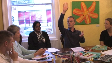 Figure 112: Image from participatory art workshop (still image from film The Collective Hearts, 2008.) Image © Gil Dekel.