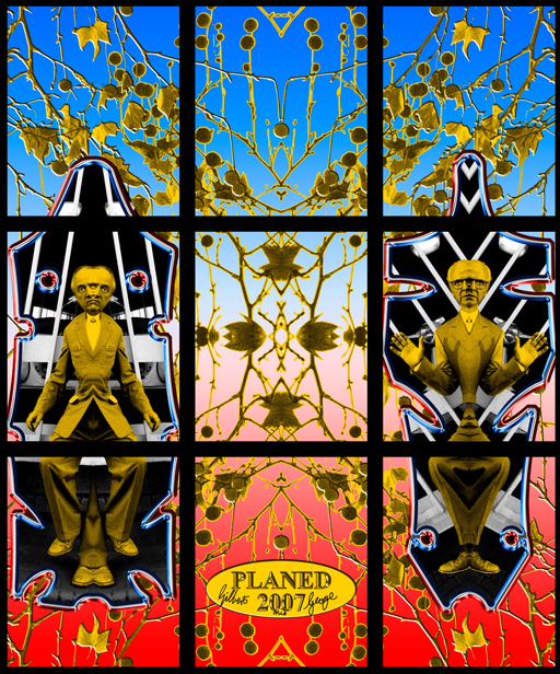 Gilbert & George, Planed (2007, electronic image). Work released to the public domain by the artists through the BBC and Guardian websites, May 2007.