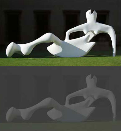 High contrast image (top) and low contrast (bottom) (showing Henri Moore's Reclining Figure (1951). Photograph © Andrew Dunn. Photo released to public domain by the photographer.)