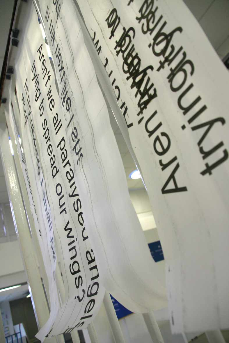 The Other Side of Words (2007, print on transparent stripes). Image © Gil Dekel