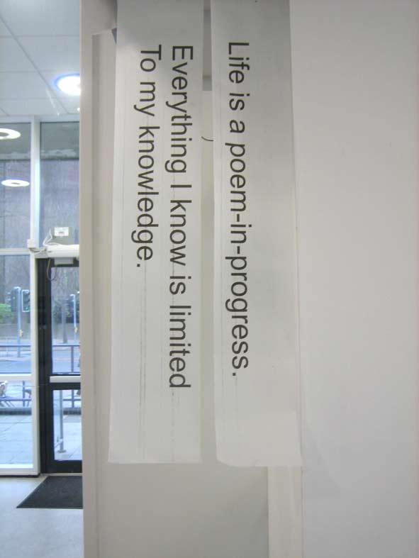 The Other Side of Words (2007, print on transparent stripes). Image © Gil Dekel.