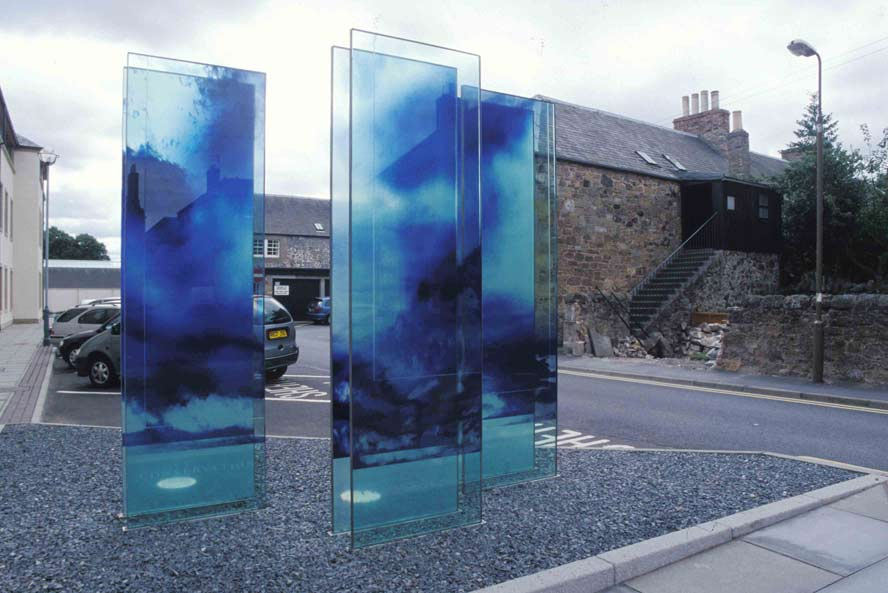 Katayoun Dowlatshahi, Drawing Fragments of Light I, II & III (2004, triptych, gelatine, blue & black pigment onto glass, 168 x 76 cm each.) Image © the artist. Permission to use image obtained from the artist.